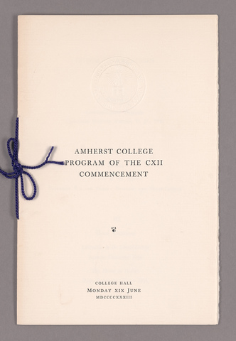 Amherst College Commencement program, 1933 June 19