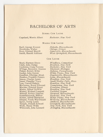 Amherst College Commencement program, 1917 June 20