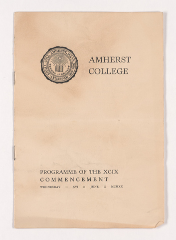 Amherst College Commencement program, 1920 June 16