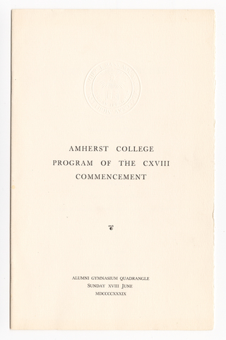 Amherst College Commencement program, 1939 June 18