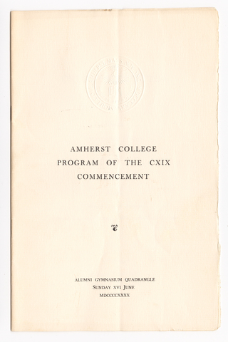 Amherst College Commencement program, 1940 June 16