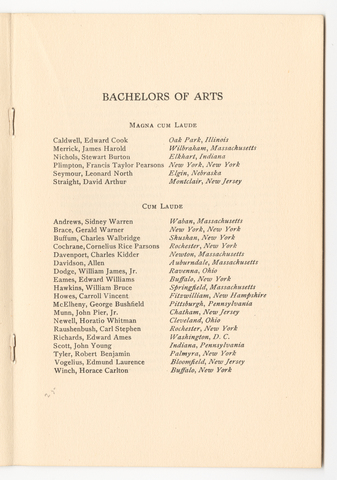 Amherst College Commencement program, 1922 June 21