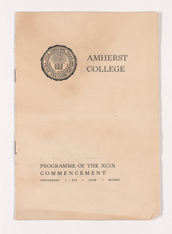 Amherst College Commencement program, 1919 June 18