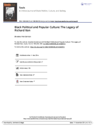 Black political and popular culture: The legacy of Richard Iton