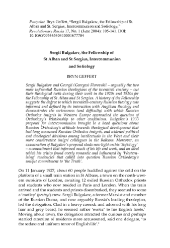 Bryn Geffert - Sergii Bulgakov, the Fellowship of St. Alban and St. Sergius, Intercommunion, and Sofiology.pdf
