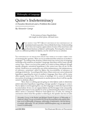 Quine's indeterminacy: A paradox resolved and a problem revealed
