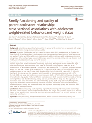 Family functioning and quality of parent-adolescent relationship: cross-sectional associations with adolescent weight-related behaviors and weight status