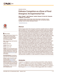 Pollinator competition as a driver of floral divergence: An experimental test