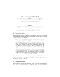 On Gauss's First Proof of the Fundamental Theorem of Algebra
