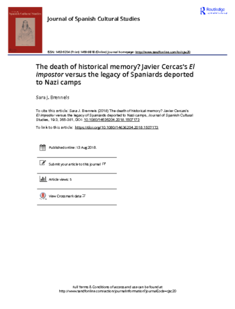 The death of historical memory Javier Cercas s El impostor versus the legacy of Spaniards deported to Nazi camps.pdf