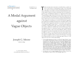 A Modal Argument Against Vague Objects
