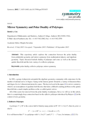 Mirror symmetry and polar duality of polytopes
