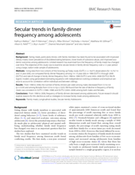 Secular trends in family dinner frequency among adolescents