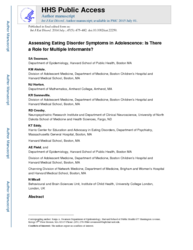 Assessing eating disorder symptoms in adolescence: Is there a role for multiple informants?