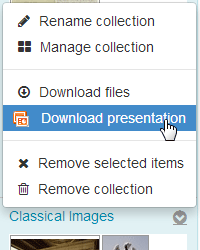 Use icons below collections